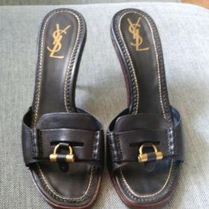39fa86ab92ec Yves Saint Laurent black slides sandals shoes